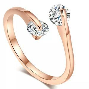 18K GP Rose Gold Double Diamond Open Ring New